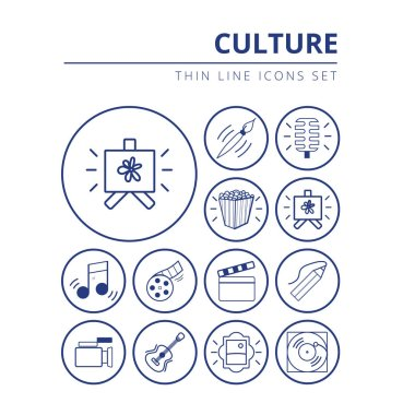 Set of icons related to culture painting, music and cinema vector illustration thin line style