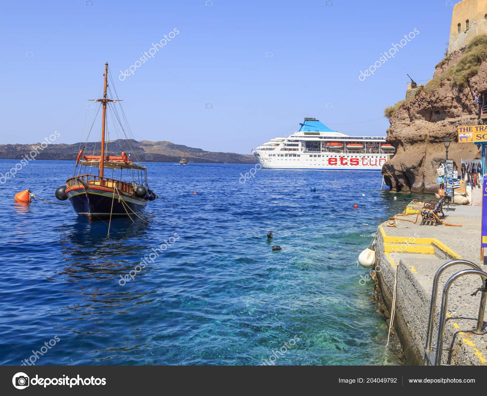 santorini greece july 2018 view ets tur cruise ship port stock