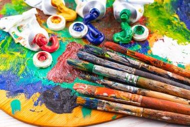 "Картина, постер, плакат, фотообои ""кисти и краски для рисования."", артикул 249022136"