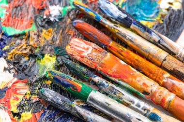 "Картина, постер, плакат, фотообои ""кисти и краски для рисования."", артикул 249022362"