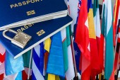 Fotografie Blue passports and several cards with flags of world