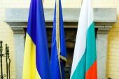 Fotografie Flags of Ukraine European Union and Bulgaria