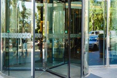 Revolving door in reception of office building