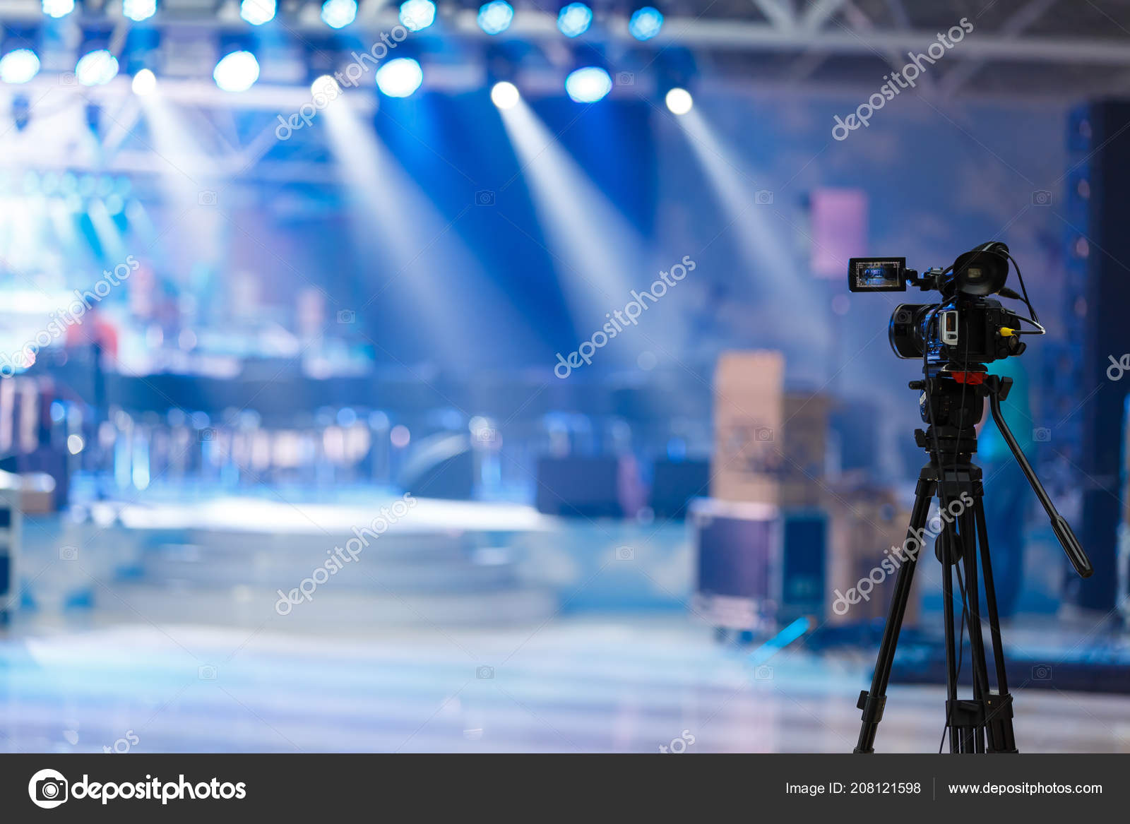 Empty Stage Lights Concert Stock Photo