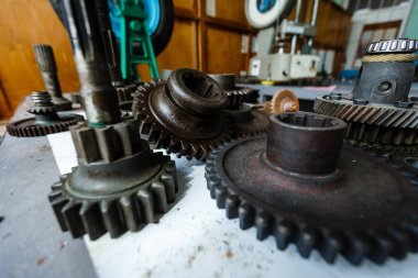 Machine gear metal cogwheels nuts and bolts