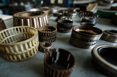 Old rusty different metallic bearing bolts and nut old it used