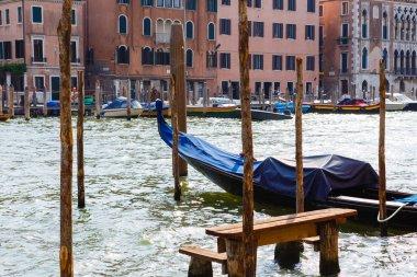 Gondolas moored on the Grand Canal, Venice, Italy