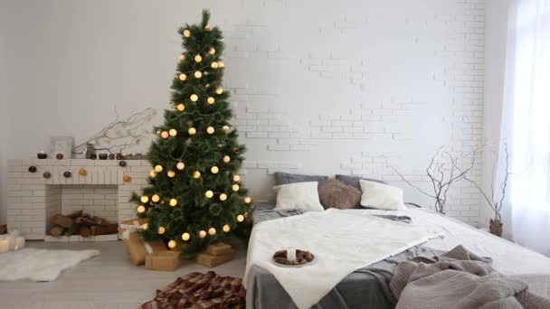 Cozy light interior with Christmas decorations