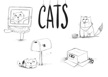 pencil sketches of cute cats in different situations