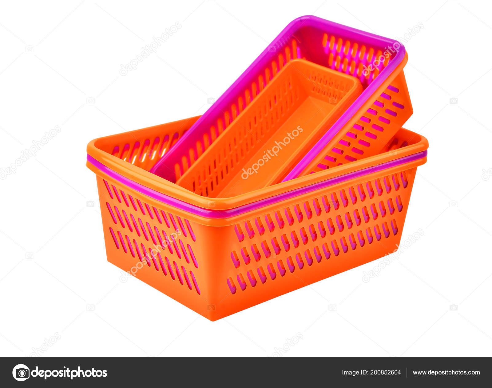 Color Plastic Basket Isolated White Background Stock Photo