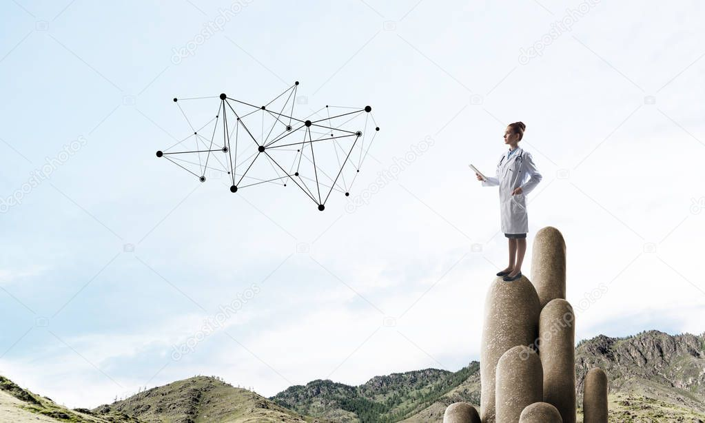 Young female doctor with folder in hands satnding on stone column. 3d rendering