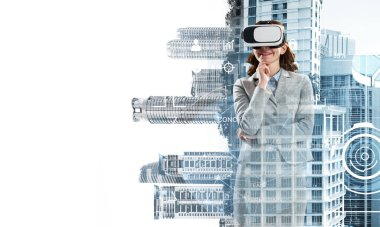 Double exposure of businesswoman wearing virtual reality glasses and modern cityscape stock vector