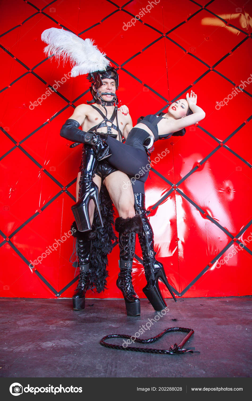 Fashion BDSM Pony Play Game with Cruel Beautiful Mistress and Perfect  Animal Slave Horse — Photo by ...