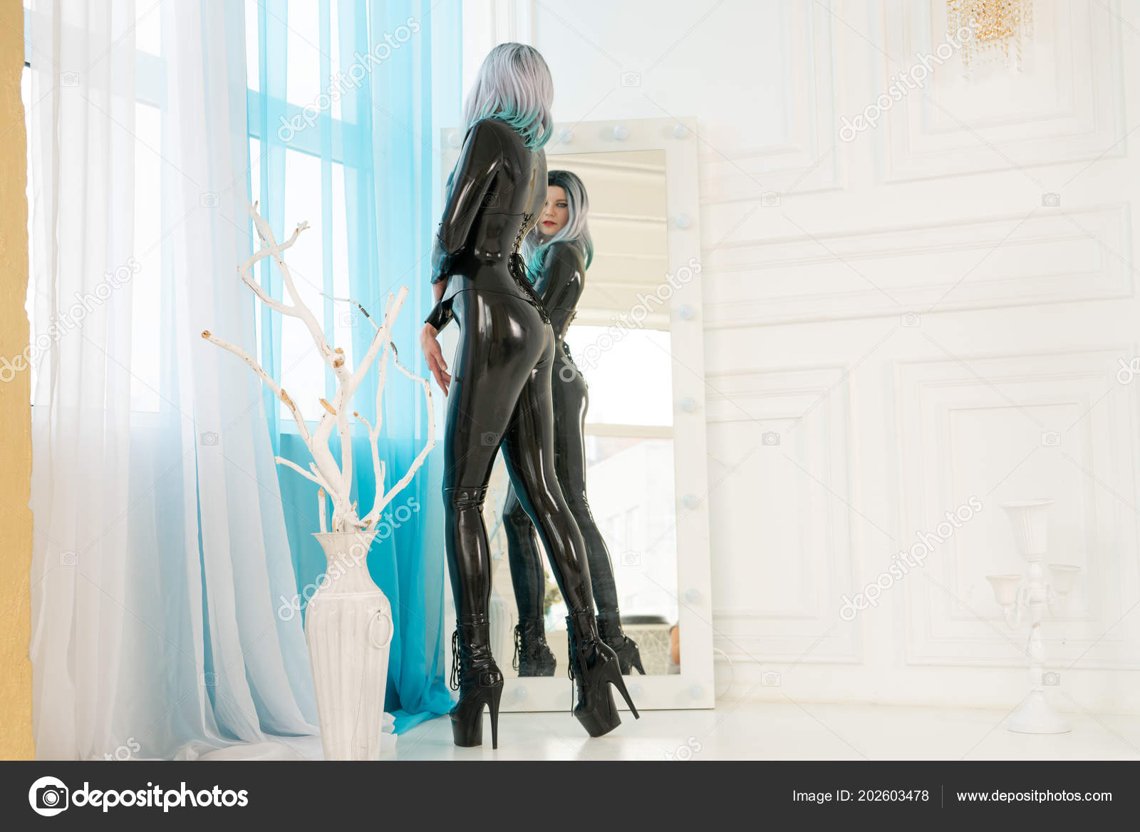 Luxury Fashion Girl Dressed Black Stylish Catwoman Costume Standing Looking u2014 Stock Photo & Luxury Fashion Girl Dressed Black Stylish Catwoman Costume Standing ...