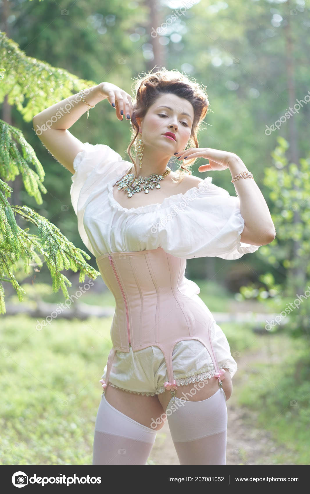 040d4a9ea18 Beautiful young chubby girl posing in medieval retro corset and white  vintage lingerie in the forest — Photo by ...