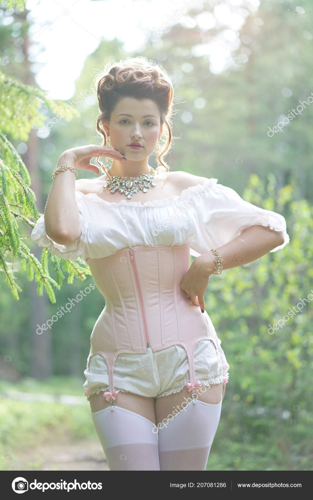 2b891a6b3d Beautiful young chubby girl posing in medieval retro corset and white  vintage lingerie in the forest — Photo by ...