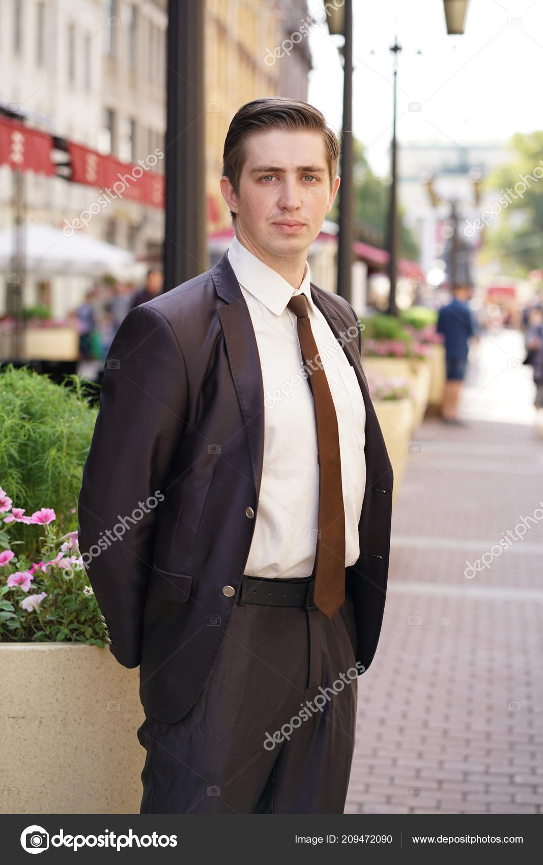 Young Man Black Business Suit White Shirt Tie Stock Photo