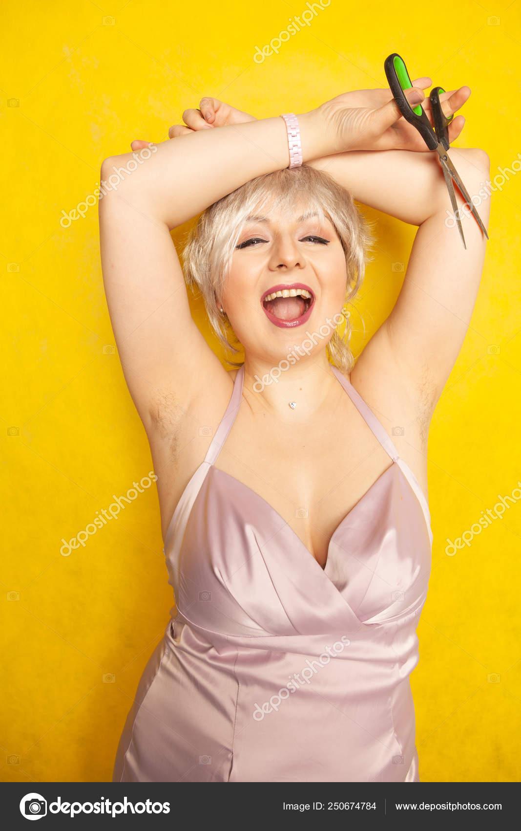 Chubby Girl Dress Unshaven Hairy Armpits Scissors Hand ...