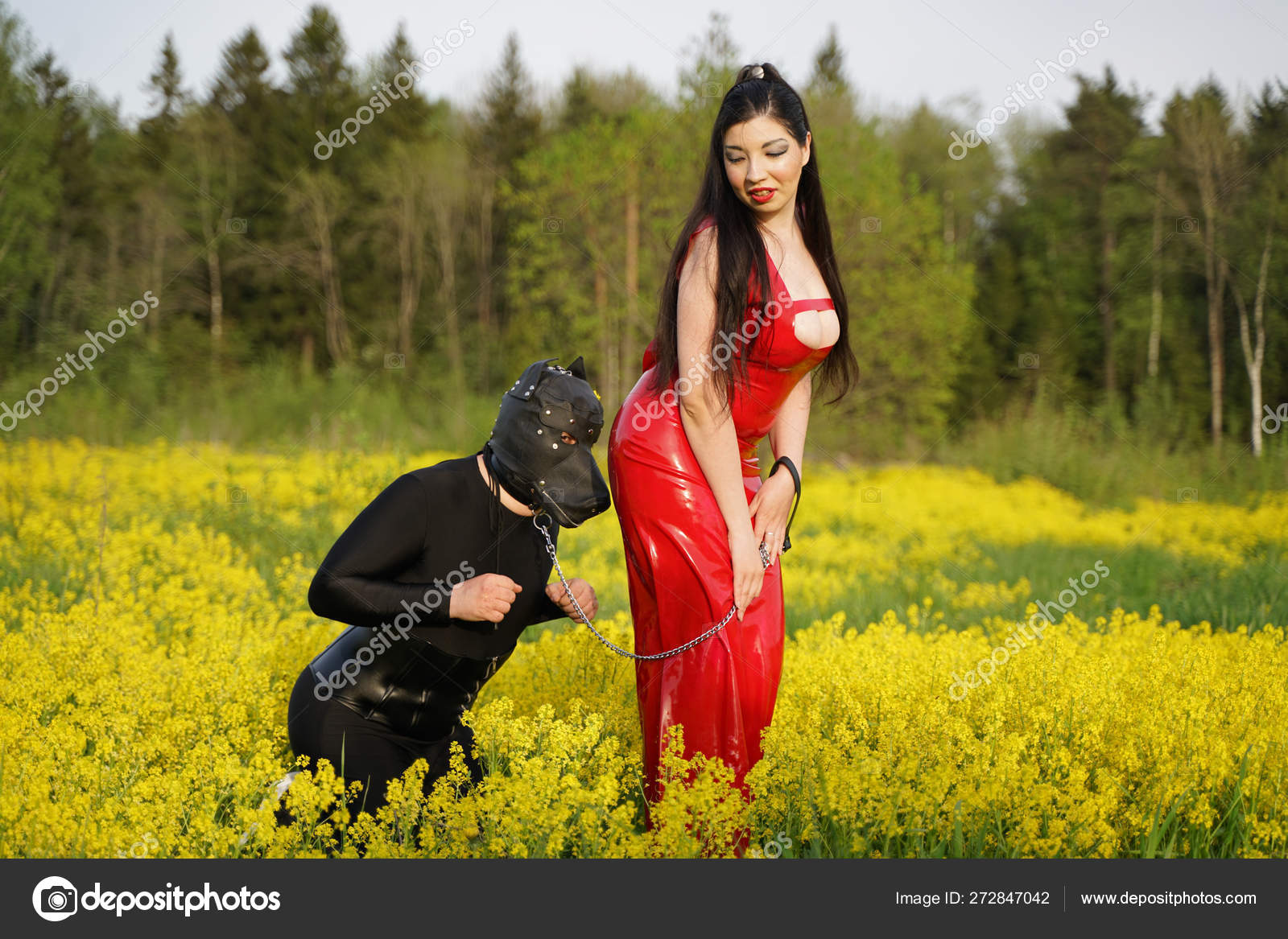 Sexy Kinky Couple Walking Nature Having Roleplay Game