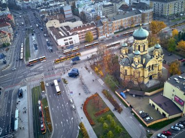 Beautiful panoramic aerial view to Cathedral of St. Mary Magdalene, Warsaw from dron DJI Mavic Air