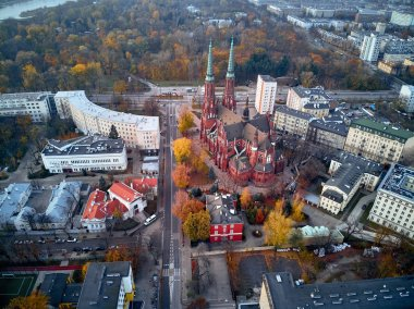 Beautiful panoramic aerial view to St. Florian's Cathedral, Warsaw from dron DJI Mavic Air