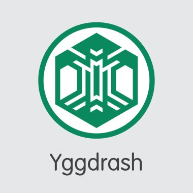 Yggdrash - Digital Coin Vector Icon of Cryptographic Currency.