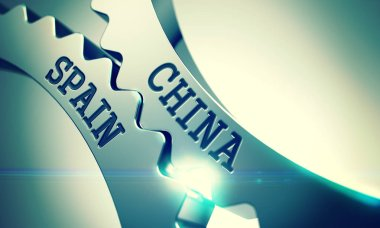 China Spain - Mechanism of Shiny Metal Cog Gears. 3D.