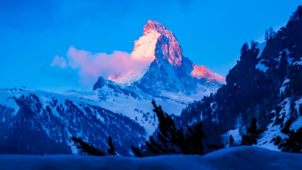 Time lapse of Sunrise at Matterhorn Peak in Zermatt Switzerland
