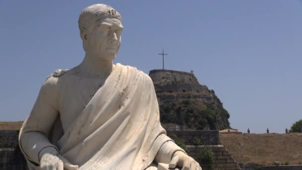 Korfu-Stadt, Griechenland: Statue vor der alten Festung von Korfu