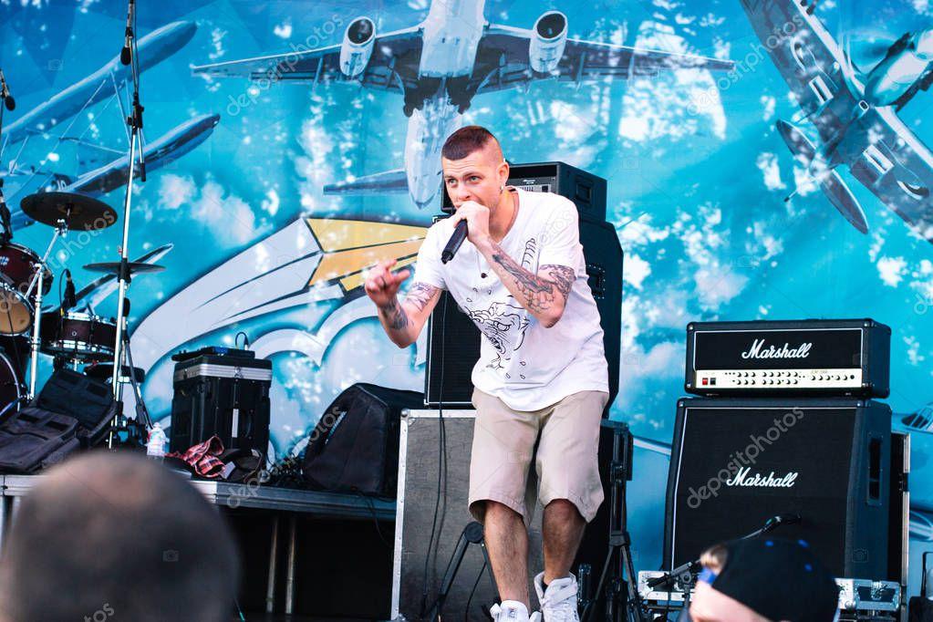Concert of the Ukrainian rap artist Yarmak May 27, 2018 at the festival in Cherkassy, Ukraine.