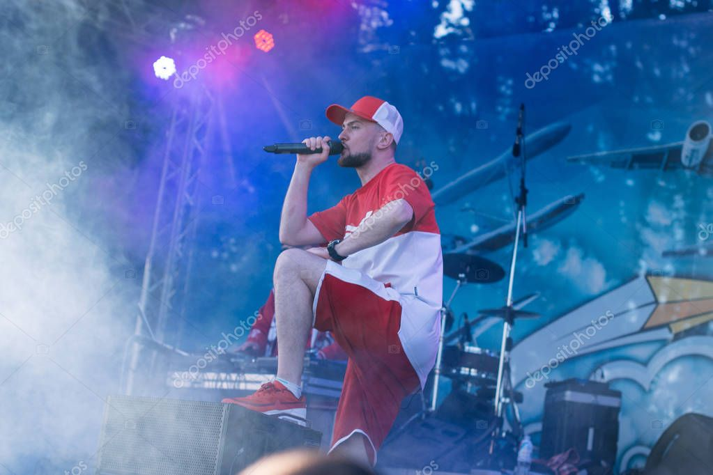 Concert of the Ukrainian rap artist Yarmak May 27, 2018 at the festival in Cherkassy, Ukraine. Free entrance. In the open air