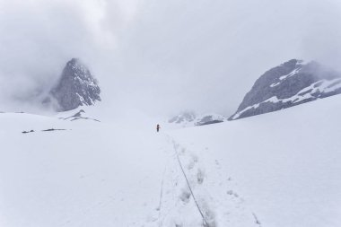 Summer, a group of tourists goes to the pass in Krygizii in the mountains. a group of climbers is climbing