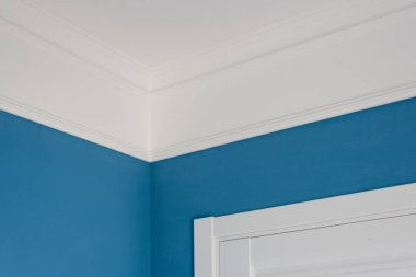 Details in the interior. Ceiling moldings, blue painted walls, white door.