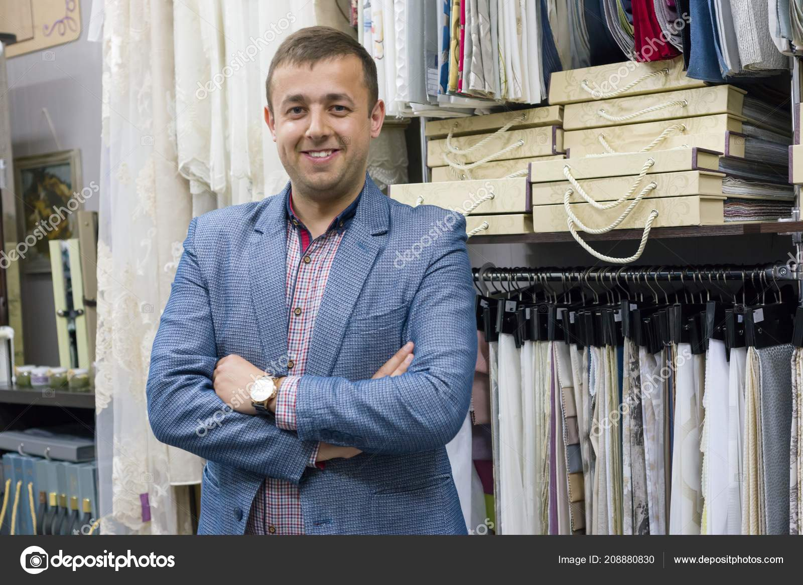 Portrait Happy Businessman Owner Crossed Arms Interior Fabrics Store Background Stock Photo C Valerii Honcharuk 208880830