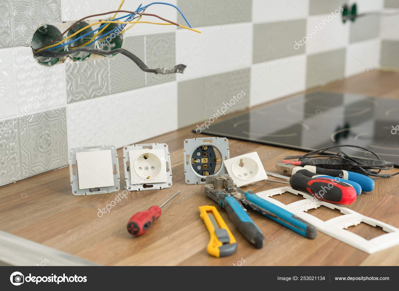 Install Electrical Outlet >> Preparing To Install An Electrical Outlet Closeup Of