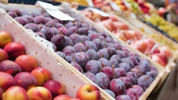 Vértes friss színes őszibarack szilva gránátalma és a szőlő gyűjteni fa dobozok piacon