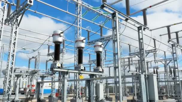 High-tech electrical distribution equipment operates correctly at  transmission substation against sunshine