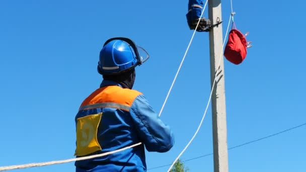 electricians work with wires at professional training