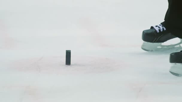 Closeup hokej soudce snímá černé PUK od ice arena di Verona