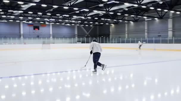 mladý hokejista s holí brusle podél ledové arény