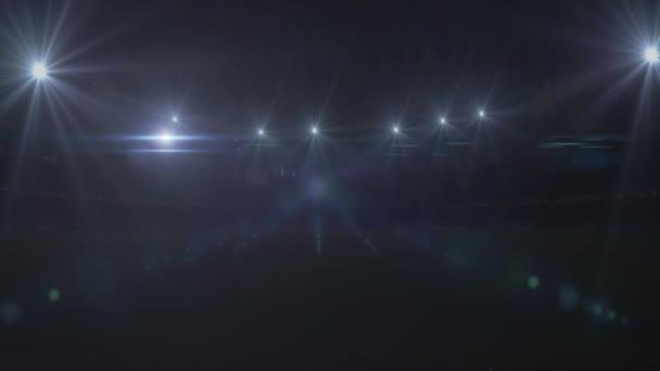 Futball-labda repül a focipálya, 4k, animáció