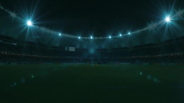 Futball labda kör és a tekercs a focipálya, 4k, animáció