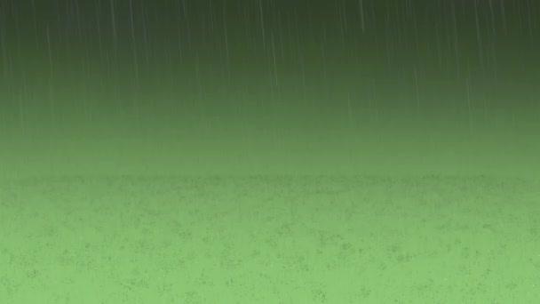 Goccioline di pioggia e acqua realistiche sullo sfondo verde. Animazione