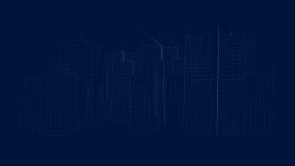 Animated blueprint of a modern city with skyscrapers