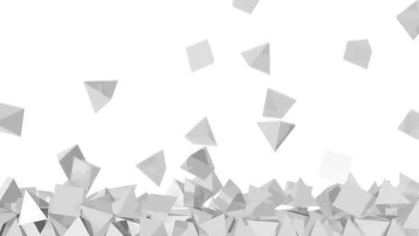 Stacked pyramids background - falling many white pyramids