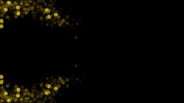 Žlutá zářící světla v abstraktní vlně, na černém pozadí
