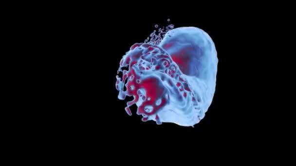 Il liquido incandescente blu e rosso astratto spruzza nello schermo e continua a ruotare, isolato su sfondo nero