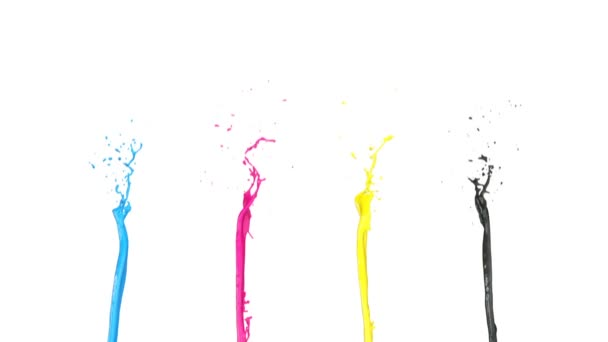 Cmyk color fountains in slow motion, isolated on white background.