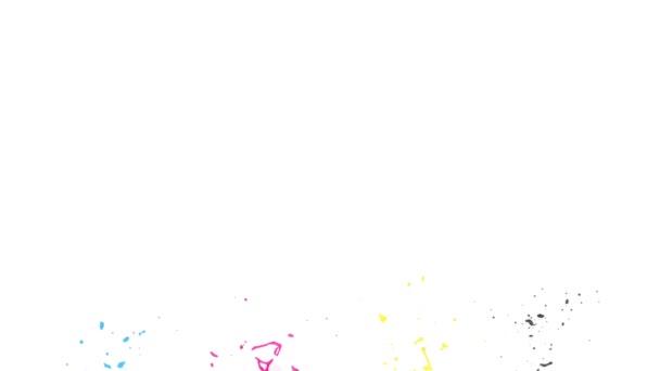 Il colore Cmyk schizza al rallentatore, isolato su sfondo bianco.