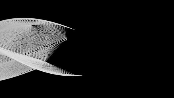 Abstraktní natékající bílé čáry vytvářejí zakřivený objekt, černé pozadí.
